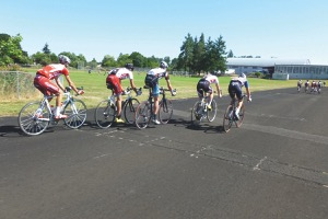 Paceline practice! Reshuffling the group based on wind direction. Photo courtesy of USA Cycling Talent ID Camps