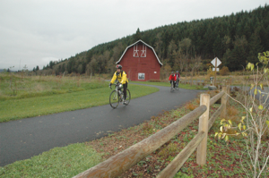 The 30-mile long Centennial Trail extends from Snohomish to the Skagit County line and connects along the way Lake Stevens and Arlington. Photo by Bill Thorness