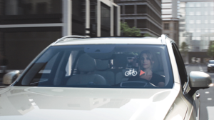 A Volvo driver gets a cycle proximity alert through a heads-up display. Photo courtesy of Volvo Car Corporation Photo courtesy of Volvo Car Corporation
