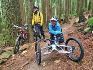 Tara Llanes enjoying the trails on her Sport-On Explorer trike. Photo courtesy of Tara Llanes