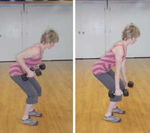 Bent over row.  Photo courtesy of Sylvie Allen, PT and MTB Coach