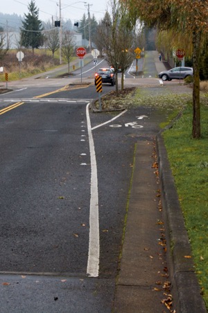 Separate paths for cyclists and motorists.   Photo courtesy of Will Vanlue
