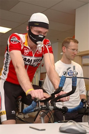 Allan Larsen, 2003 RAAM winner, gets tested by Bruk Ballenger of RealRehab.  Photo courtesy of Bruk Ballenger, Real Rehab