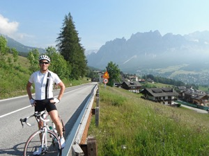 The lower gradient of Passo Falzarego with the town of Cortina below.  Photo courtesy of Dave  Campbell