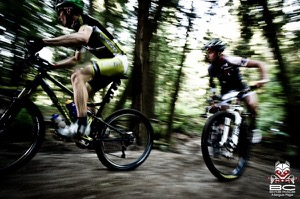 Matt Hadely (Exprezo-Borseao Factory) leads Kevin Calhoun of the Rocky Mountain Factory Team 2.  Photo by BC Bike Race