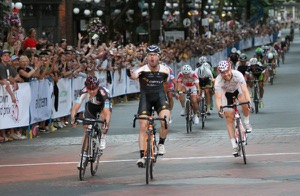 American Ken Hanson pumps his first after beating Vancouver's Ryan Anderson and Australia's Tommy Nankervis in a bunch sprint to with the 2012 Global Relay Gastown Grand Prix and it's $15,000 first prize. Photo by Greg Descantes
