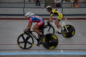 Dana Feiss (Home Depot Center) and Tela Crane (Broadmark) start the women's team sprint en route to establishing a new 39.30 record.  Photo by Charlie Warner