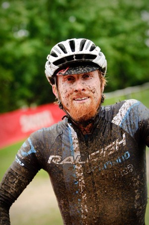 A smiling Craig Etheridge after winning muddy 2011 USGP Planet Bike Cup - photo by Lyne Lamoureux.